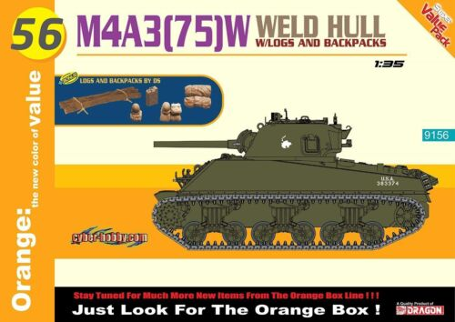 Cyber Hobby 1:3 5 9156: Sherman M4A3 (75) w WELD HULL + Logs and Backpacks