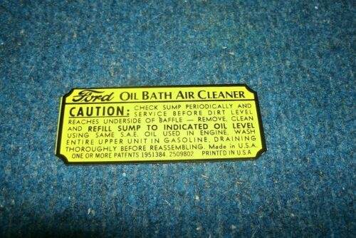 1939 1940 1941 LINCOLN OR MERCURY OIL BATH AIR CLEANER BASE WARNING DECAL