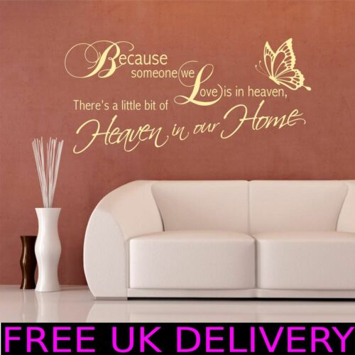 Heaven Home Family Wall Quotes Wall Art Stickers Decal Transfer Mural WSD437