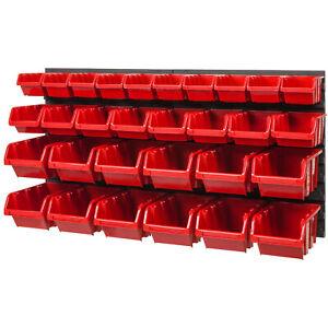 30-SET-Lagersichtboxenwand-Sichtlagerboxen-Stapelboxen-mit-Montagewand-NTBNP3