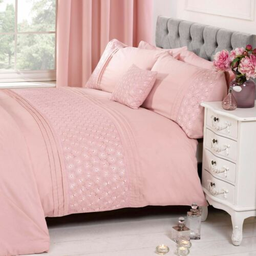 EVERDEAN FLORAL BLUSH PINK KING SIZE DUVET COVER SET LUXURY BEDDING