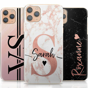 Pink-Initial-Phone-Case-Personalise-Black-Marble-Hard-Cover-For-Apple-iPhone-11