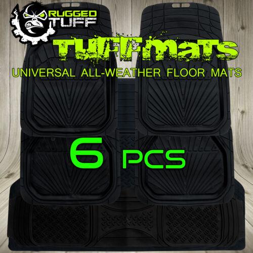 NEW RUGGED TUFF 6 PCS HEAVY DUTY FLOOR MATS ALL WEATHER BLACK UNIVERSAL 3RD ROW