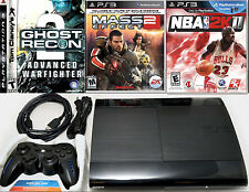 Sony PS3 Super Slim 500GB Game Console System Bundle NBA 2K11 mass effect 2