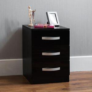 Hulio High Gloss Chest Of Drawers Black 3 Drawer Metal