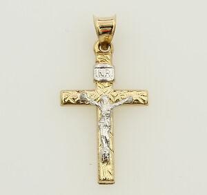 Small Celtic Cross 14k 2 Tone Gold Rose Yellow Pendant Crucifix Jesus Religious