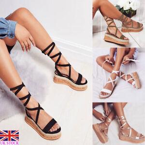 4c1f8b4e12ea UK Womens Ladies Flat Wedge Espadrille Sandals Lace Tie Up Platform ...