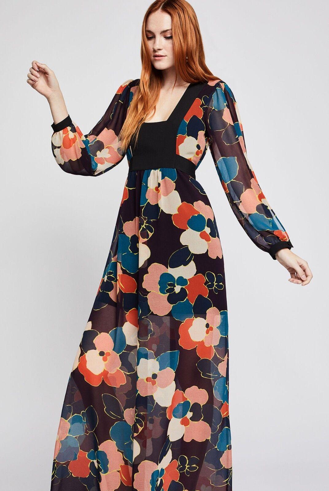 NWT BCBG Generation Graphic Multi Multi Multi color Floral Maxi Dress XS Retail  128.00 4133a7