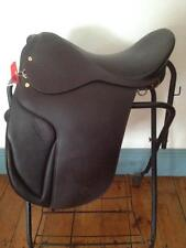"DRESSAGE SADDLE 18"" BROWN LEATHER  <NEW> Wide Tree DEEP SEAT"
