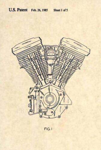 Official Harley Davidson Evolution Engine US Patent Art Print Original EVO 286
