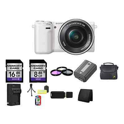 Sony NEX-5T Mirrorless Digital Camera - White w/16-50mm Lens 24GB Package