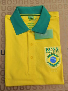 Image is loading NEW-HUGO-BOSS-MENS-YELLOW-BRAZIL-SOUTH-AMERICA-
