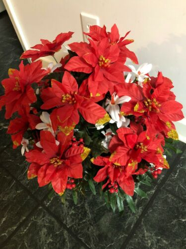 B Cemetary Memorial Artificial  Mix Flowers Red  poinsettia  /& holly