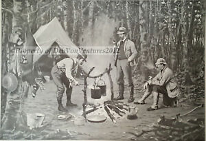 Antique AB Frost Print 1904 -SUPPER AT CAMP -Camping Fire Woods Pots Axe - BONUS