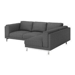 Ikea-cover-set-for-Nockeby-3-Seater-Sofa-with-Right-Chaise-in-Lejde-Dark-Grey
