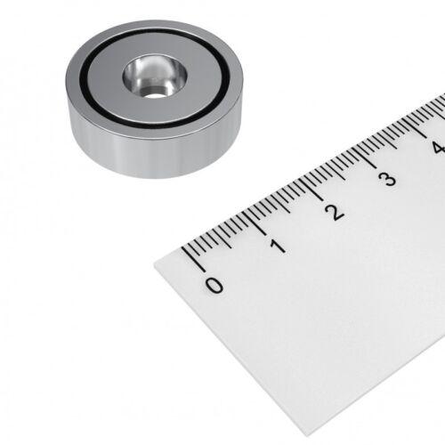 25x8 mm Topfmagnet mit zylindrischer Bohrung