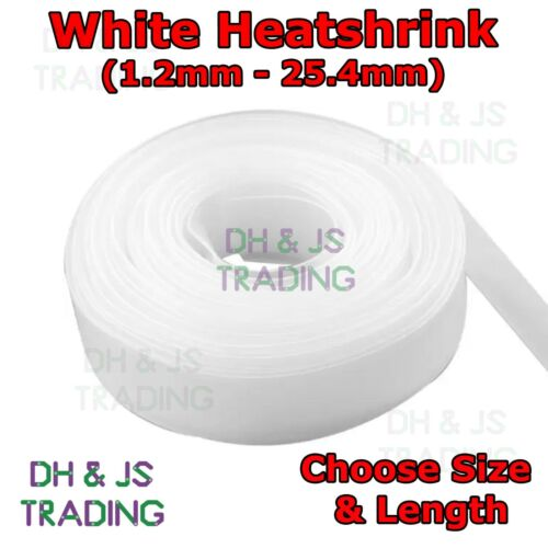 White Heat Shrink 2:1 Tubing Electrical Sleeving Cable Wire Heatshrink Tubing
