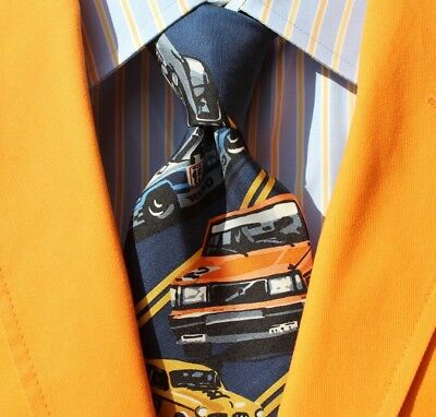 Volvo/ Dennis Simon/ Century of Speed Navy Blue & Gold Striped Silk Race Car Tie
