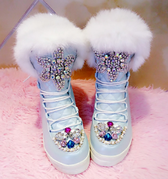 Chic Girl Donna Bling Rhinestone Fur Colored Winter Stivali Girl Chic Hidden Wedge Shoes a52207