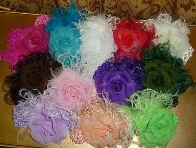 Rose Flower Marabou Feather Crochet Headband Hair Clip!
