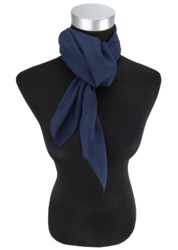 Schal 90 cm x 90 cm TigerTie Damen Chiffon Halstuch blau dunkelblau Uni Gr