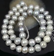 """8-9mm Genuine Freshwater Coated Silver Gray Pearl potato Beads 16"""""""