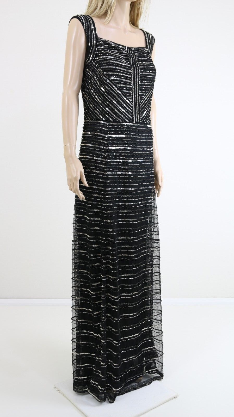 Gina Bacconi schwarz Square Neck Embellished Cocktail Maxi Party Dress UK 18 20