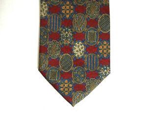 631fe56529e9 Saks Fifth Avenue Mens Necktie Tie Red Blue Geometric Italy 100 ...