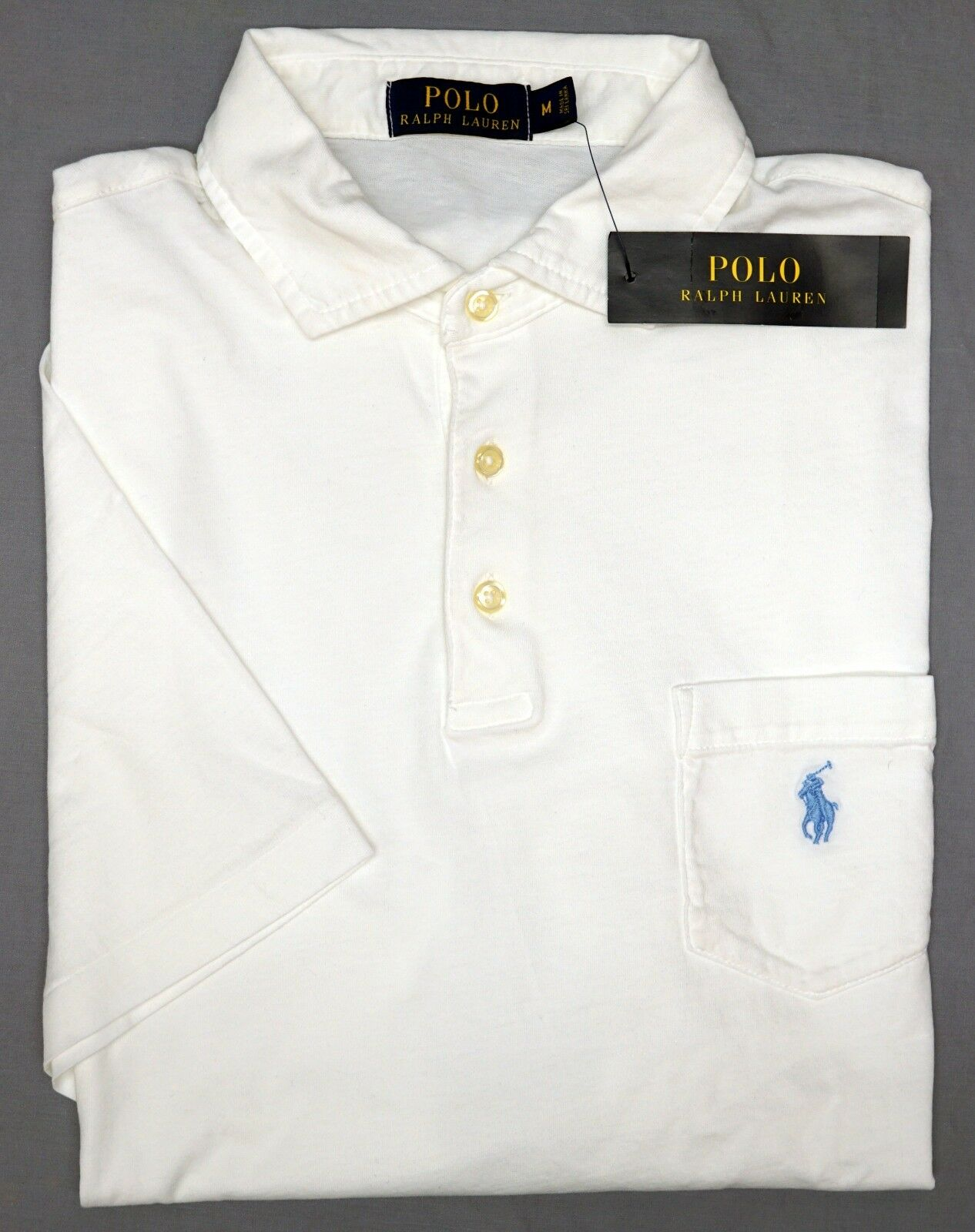 NWT  Polo Ralph Lauren Short Sleeve White Shirt Mens Size M Cotton NEW