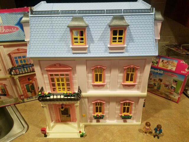 MINT PLAYMOBIL 5303 DELUXE VICTORIAN DOLLHOUSE w EXTRAS 5307