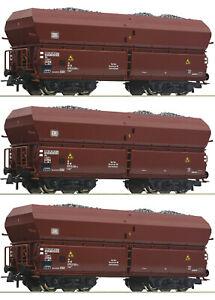 Roco-H0-56332-S-Selbstentladewagen-mit-Kohleeinsatz-der-DB-3-Stueck-NEU-OVP