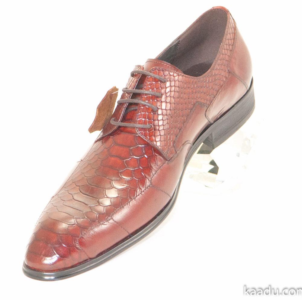 CK1456 Chris Kaadu Men Dress Comfort shoes Oxford Red Brown