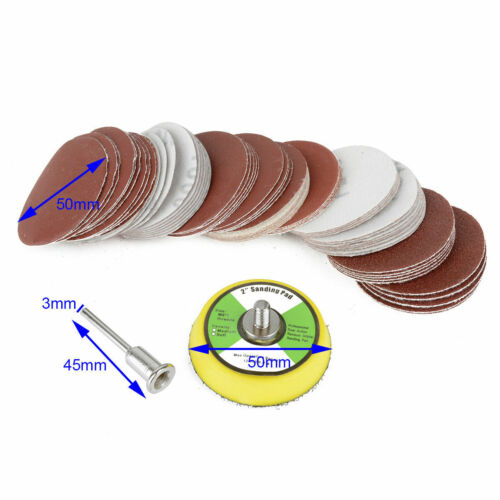 "60Pcs 2inch Sandpaper Disc 50mm 1//4/"" Hook /& Loop Sanding Sander Backing Pad"