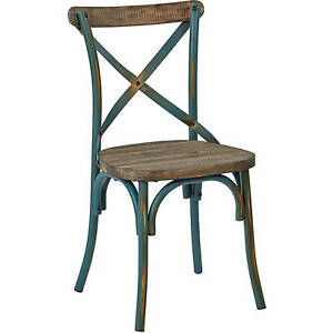Image Is Loading Rustic Crossback Dining Chair  Distressed Industrial Turquoise Metal