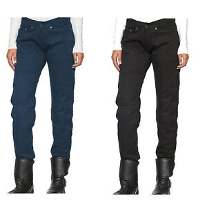 Black-Tab-Ladies-Blue-amp-Black-Motorcycle-Protective-Jeans-reinforced-with-Kevlar