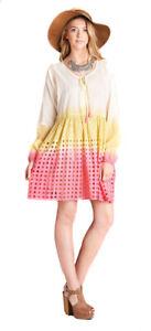 VELEZRA-Womens-Ombre-Tie-Dye-Eyelet-Woven-Chic-Long-Sleeve-Tunic-Dress-S-M-L