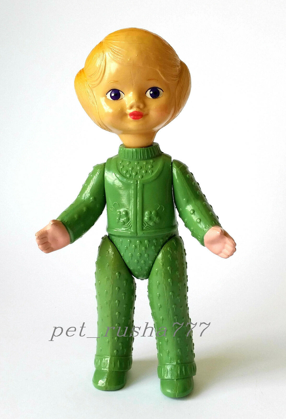 1960s-1970s USSR Russian Soviet  CELLULOID Toy Bellissimo LITTLE GIRL in verde