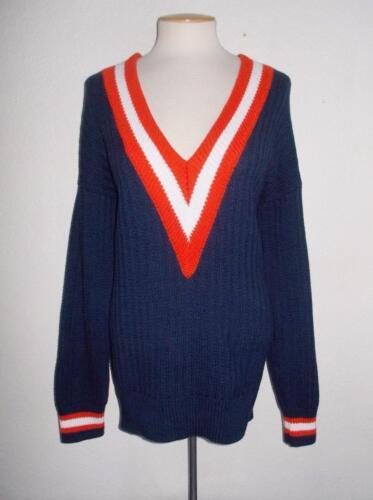con V a bianco di blu a Maglioncino scollo moda e maniche rosso lunghe 8TXExxfqw