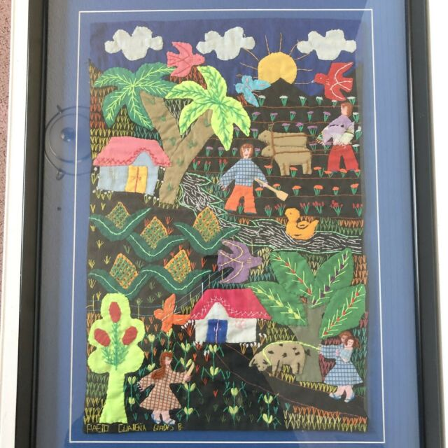 Applique Hand Embroidered Tapestry Framed Garden Scene Folk Art 11 x 17 Barbados