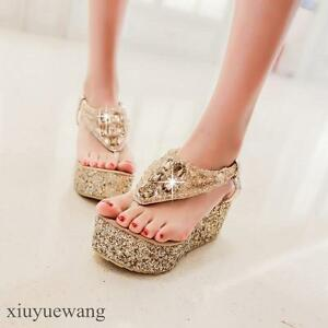 Women-Rhinestone-Flip-Flops-High-Wedge-Platform-Party-Thong-Sandals-Chic-Shoes