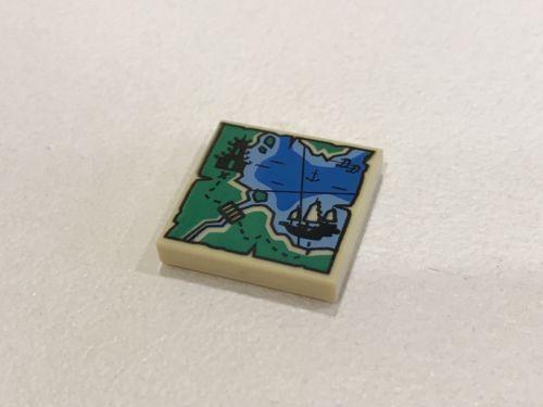 Lego Ninjago 1x Tan Tile 2 x 2 with Map Ninjago pagoda ship pattern NEW A04