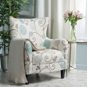 Image Is Loading High Back White Blue Floral Accent Club Chair
