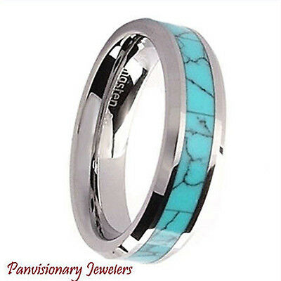 Tungsten Carbide Ring Turquoise Simulated Stone Inlay 6mm Bevel Edge Sizes 4 5 9