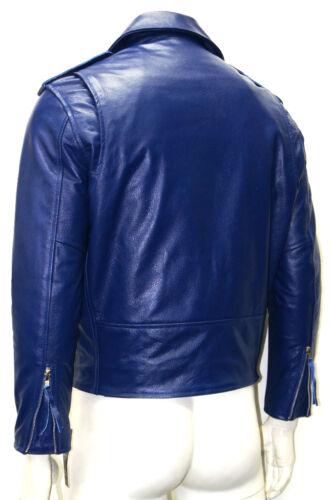 Para Hombres Caballeros Azul Classic Biker Vaquero Brando Estilo Real Cuero De Vaca Cuero Chaqueta