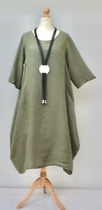 "STUNNING LINEN OVERSIZED BALLOON LONG DRESS**WHITE** BUST UP TO 50/"" Size L-XL"