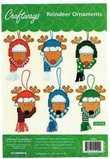 REINDEER  ORNAMENTS   7ct  plastic canvas  KIT  (#833)