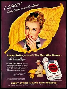 1948-Lucky-Strike-Tobacco-Cigarettes-Vintage-PRINT-AD-Brice-Leech-Blonde-Woman