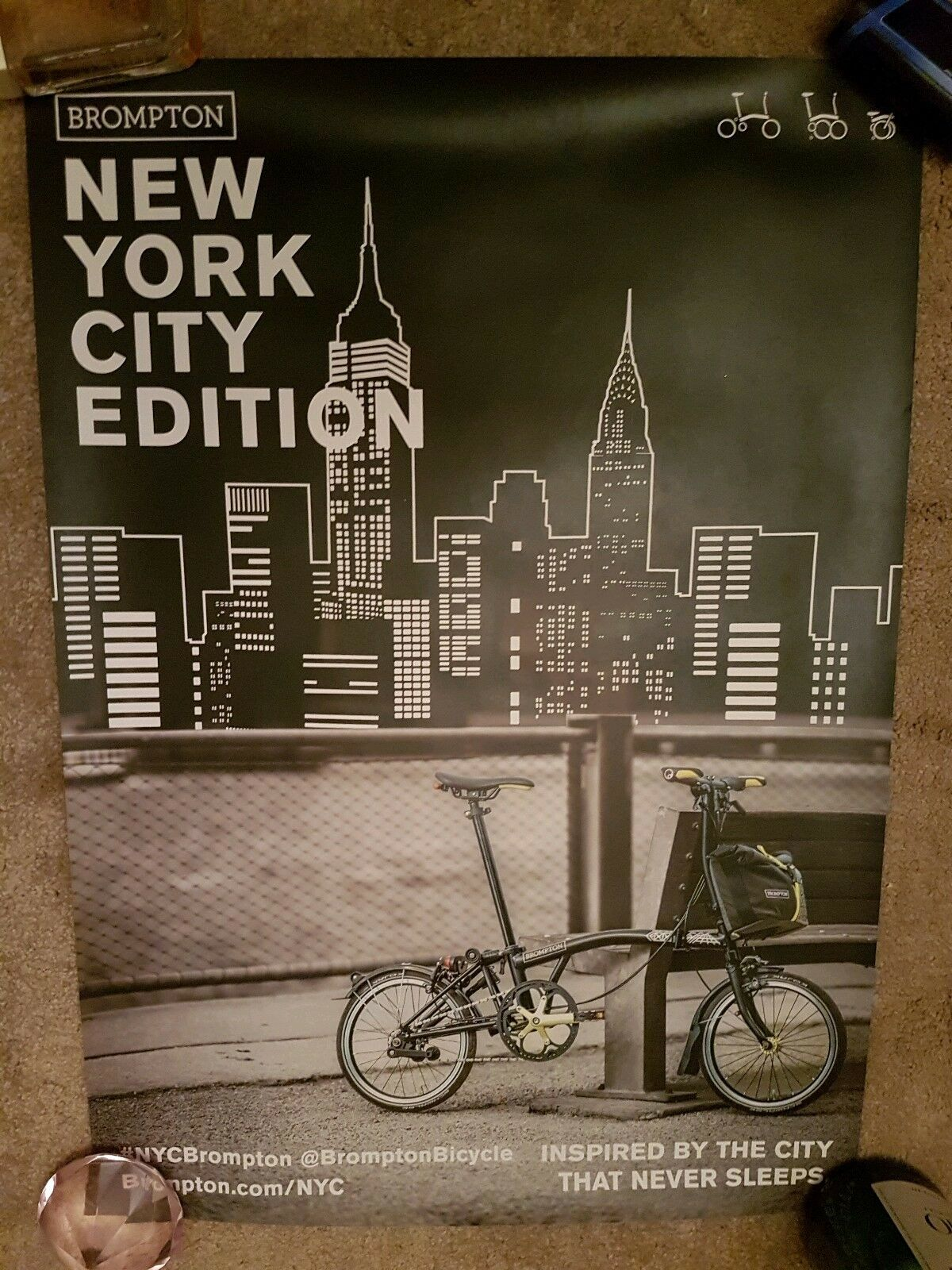 BROMPTON New York City Edition Cycling poster - Excellent Condition