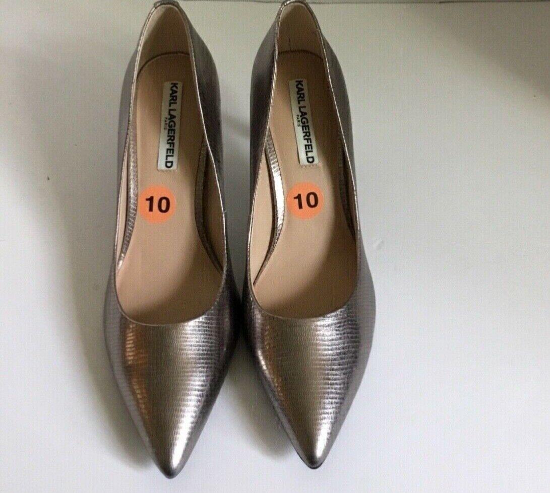 Donne 65533;Karl Lagerfeld Bronze Metallic Slip sulle scarpe  delle pompe calibro 10  promozioni di squadra