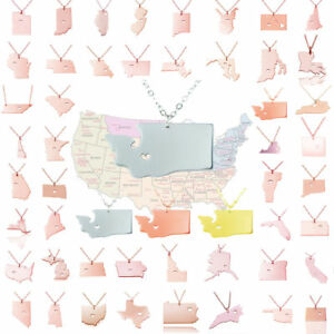 My State Map.I Love My State Necklace Stainless Steel Dainty State Map Charm